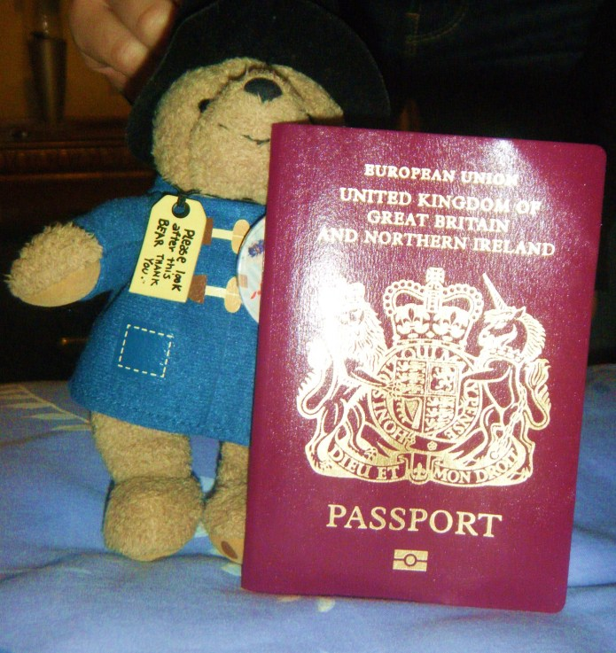 Paddington with passport ready. Same size  as Paddy you will notice.